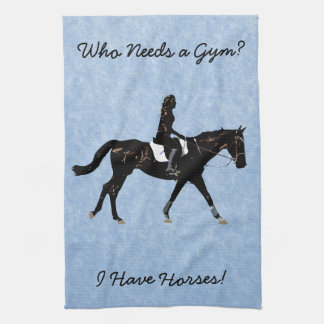 Who Needs a Gym? Fun Horse Kitchen Towel
