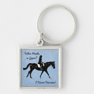 Who Needs a Gym? Fun Horse Silver-Colored Square Keychain