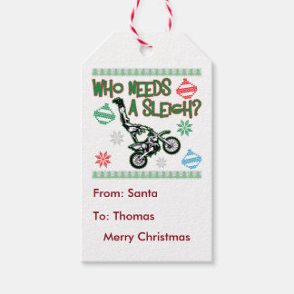 Who Needs A Sleigh Dirtbike Race Christmas Sweater Pack Of Gift Tags