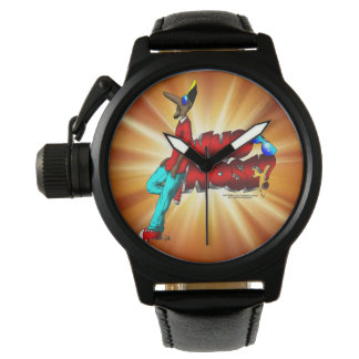 Who Nose? Black Leather Watch (Male)