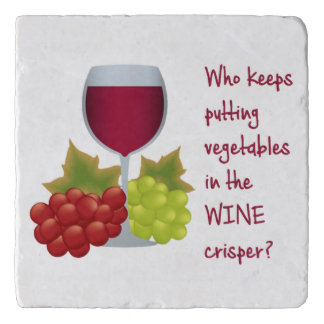 Who put vegetables in the wine crisper?  Funny Win Trivet