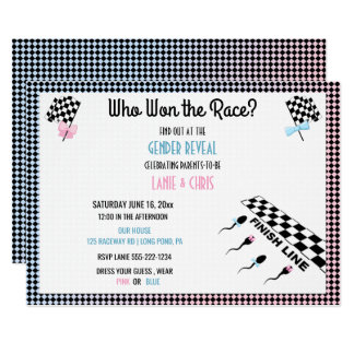 Who Won the Race Gender Reveal Funny Sperm Card