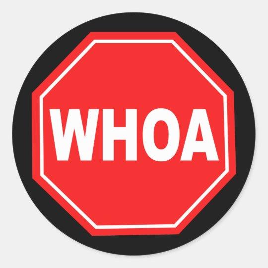 whoa classic round sticker