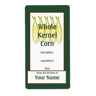 Whole Kernel Corn Preserves Label Shipping Label