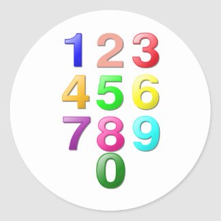 Whole Numbers or Counting Numbers Plus Zero Round Sticker