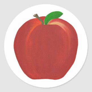 Whole Ripe Red Apple Stem Leaf Stickers