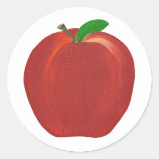 Whole Ripe Red Apple Stem Leaf Stickers