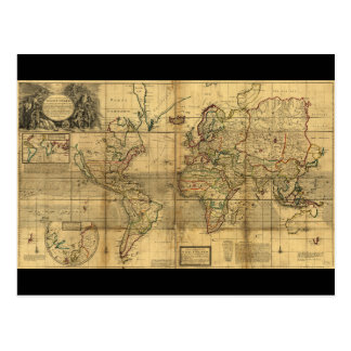 Whole World Map by Herman Moll (1719) Postcard