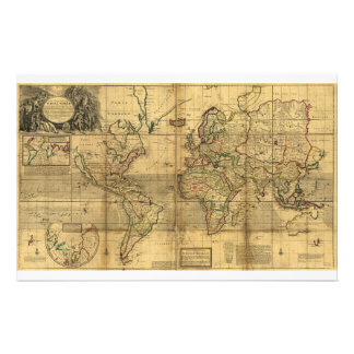 Whole World Map by Herman Moll (1719) Stationery Design