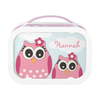 Whoo times Two Owl Personalized Girl's Lunchbox
