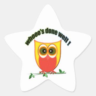 whooo's done well, cute owl star sticker
