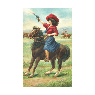 """Whoopin' Vintage Cowgirl 9""""x14.5"""" Canvas Print"""