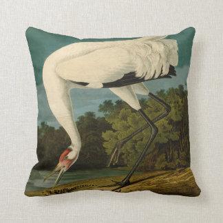 Whooping Crane Audubon Bird Print Throw Pillow