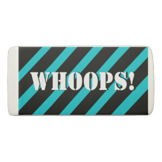 Whoops! Turquoise and Black Stripes Your Name Eraser