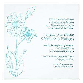 Whoopsie Daisy Simple Flowers Aqua Blue Wedding Custom Invitation