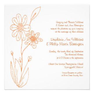 Whoopsie Daisy Simple Flowers Orange Wedding Announcement