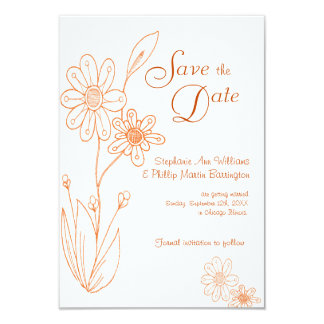 Whoopsie Daisy Simple Orange Save the Date Custom Announcements