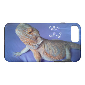 Who's calling Funny Bearded Dragon Print Blue Case-Mate iPhone Case