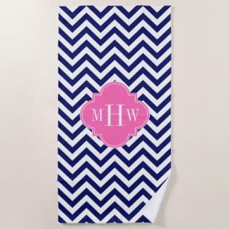 Wht DIY Color BG LG Chevron #5 Q Hot Pink Monogram Beach Towel