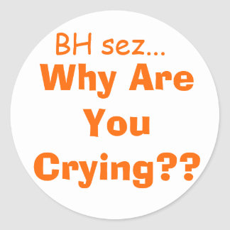 why are you crying? round sticker
