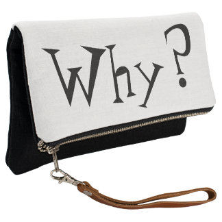 Why Big Question Mark Design Black and White Clutch