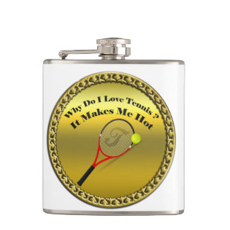Why do I love tennis.It makes me hot(gold) Hip Flask