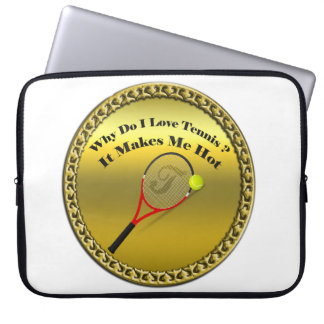 Why do I love tennis.It makes me hot(gold) Laptop Sleeve
