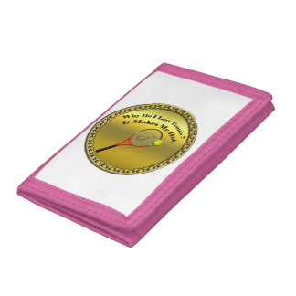 Why do I love tennis.It makes me hot(gold) Tri-fold Wallets