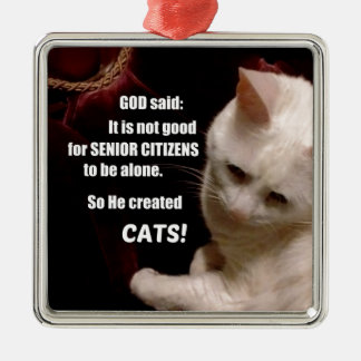 Why God created Cats (humor) Silver-Colored Square Ornament