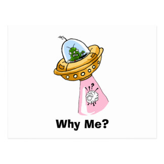 Why Me? UFO Sheep Abduction Postcard