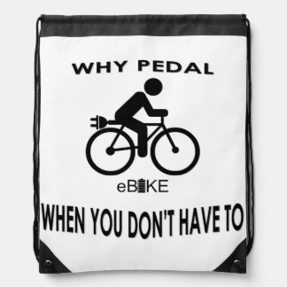 """Why pedal"" drawstring bag"
