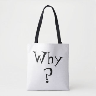 Why Question Mark Print Black and White Reversible Tote Bag