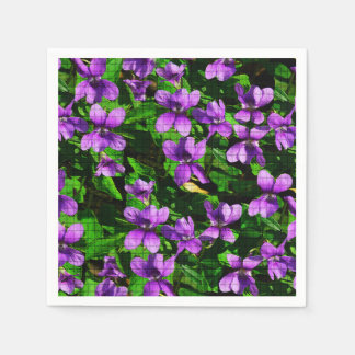 WI State Flower Wood Violet Mosaic Pattern Disposable Napkins