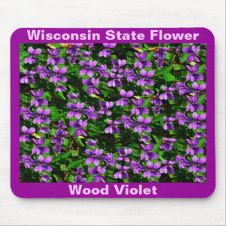 WI State Flower Wood Violet Mosaic Pattern Mouse Pad