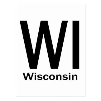 WI Wisconsin plain black Postcard