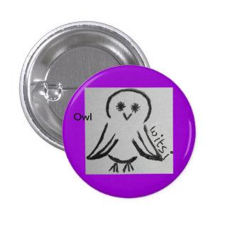 wicca kids owl 1 inch round button