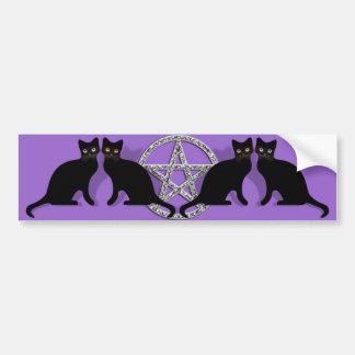 Wicca Magic Pentagram with Black Cat Familiar set Car Bumper Sticker