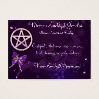 Wiccan Amethyst Jeweled Butterfly Art Business Card