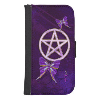 Wiccan Amethyst Jeweled Butterfly Art Samsung S4 Wallet Case