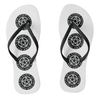 Wiccan Black Runic Pentagram Flip Flops