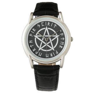 Wiccan Black Runic Pentagram Watch