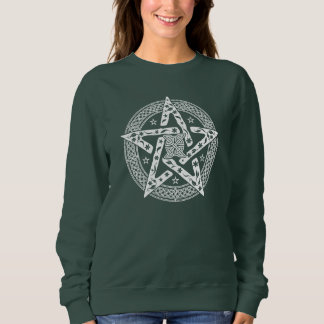 Wiccan Celtic Knot Pentagram with Floral Pattern Sweatshirt