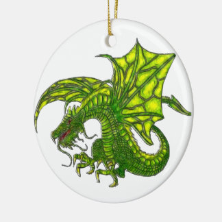 Wiccan Dragon 2 Round Ceramic Ornament
