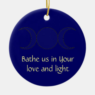 Wiccan Moon Prayer Round Ceramic Ornament