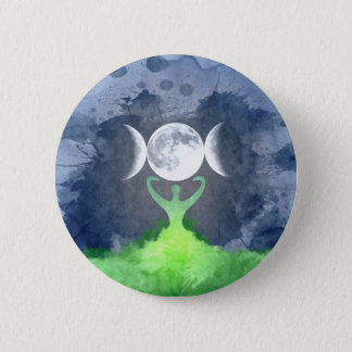 Wiccan Mother Earth Goddess Moon 2 Inch Round Button