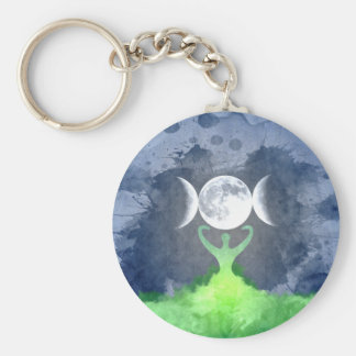 Wiccan Mother Earth Goddess Moon Keychain