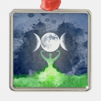 Wiccan Mother Earth Goddess Moon Metal Ornament
