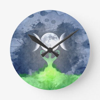 Wiccan Mother Earth Goddess Moon Round Clock