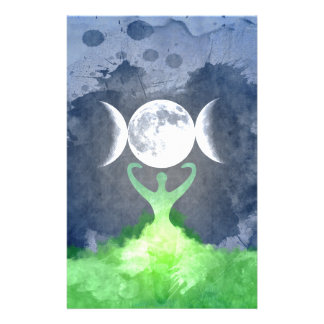 Wiccan Mother Earth Goddess Moon Stationery