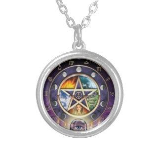 Wiccan Pagan pentagram zodiac necklace